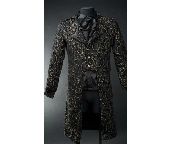 Primary image for NWT Men's Black Brocade Steampunk Victorian Goth Vampire Tailcoat Jacket