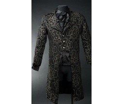 NWT Men's Black Brocade Steampunk Victorian Goth Vampire Tailcoat Jacket - $149.99