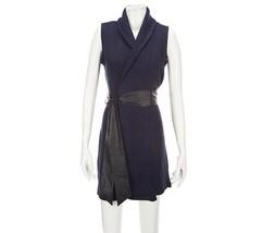 Kris Jenner Kollection Shawl Vest Faux Leather ... - $36.60