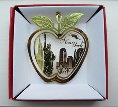New York City Big Apple Brass Ornament Statue of Liberty Souvenir - $14.95