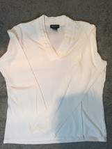 eddie bauer Women Blouse V-neck Long Sleeve White Petite Cotton Stretch Size M - $15.88