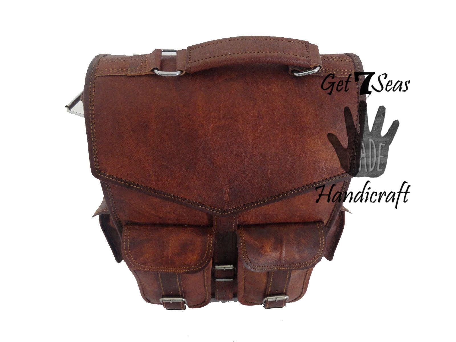 2 In 1 Leather Backpack Bag Shoulder Messenger Brown Vintage Genuine Leather