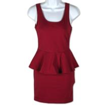 Forever 21 Peplum Dress Mini Sleeveless Red Stretchy Cotton Blend Career... - $14.95