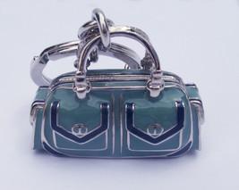 Coach 3-D Enamel Satchel Purse Key fob 92017 Purse Charm Blue Green Silver - $70.00