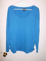 ATTENTION Blue Long Sleeve Shirred Sides Shirt Top Plus Sz XL Women's - $13.85
