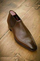 Handmade Men's Brown Leather High Ankle Chelsea Chukka Style Brogues Boots image 3