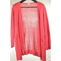Eileen Fisher sweater cardigan SZ L soft red 100% linen knit pockets soft long s image 6