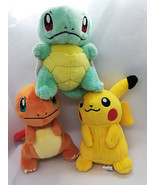 Pikachu, Charmander, Squirtle Pokemon Rare plush keychain set - $42.40