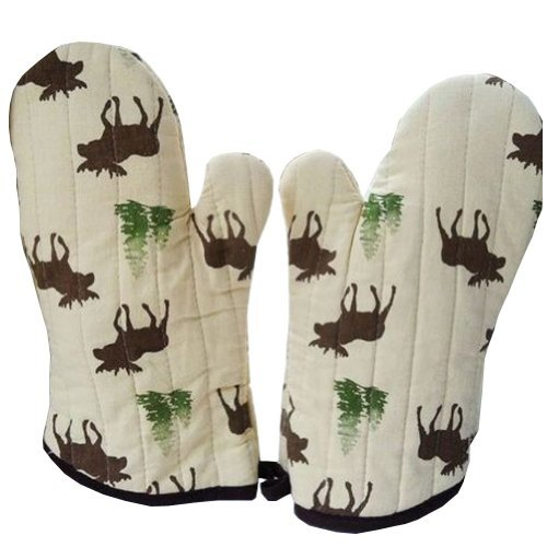PANDA SUPERSTORE Lovely Moose Stripe Cotton Heat Insulation Gloves/Oven Mitts,Br