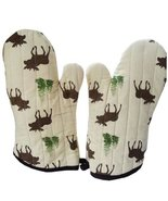 PANDA SUPERSTORE Lovely Moose Stripe Cotton Heat Insulation Gloves/Oven ... - $28.43