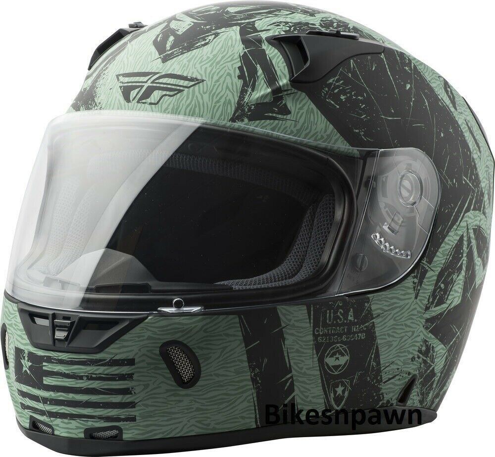 XS Fly Racing Revolt Liberator Motorcycle Helmet Matte Black/Green DOT & Snell