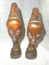 AFRICAN Ebony Wood Carved Busts AFRICAN TRIBAL ART Decor Tribe Statue Heads - $46.74