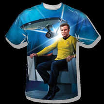 Star Trek Captain Kirk's Chair One Sided Sublimation Print T-Shirt, SIZE... - $27.08