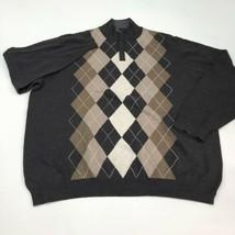 Tasso Elba Sweater Mens 2XL XXL Brown 1/3 Zip Argyle Diamond Knit Lightw... - $19.99