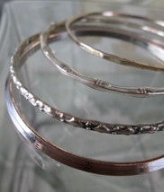 Eclectic Boho Silver Bangles, Set of 4, Four Unique Designs     Group 3 - $18.69
