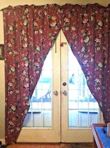 Floral Manor Boutique Red Floral & Gold Pair Panels Door Way 41X81  - $28.71