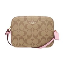NWT COACH Mini Camera Crossbody Canvas Monogram Logo Blossom Pink Gold 9... - $158.40
