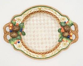 """Fitz & Floyd 14.5"""" Home Fragrance Platter Dish with Handles Checkered Pi... - $19.95"""