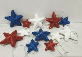 (12) Patriotic 4th of July Red White Blue Stars Styrofoam Ornaments Decor  - $12.99