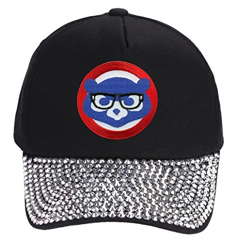 Chicago Cubs Hat With Joe Maddon Harry Caray Glasses - Cool Black Rhinestone Wom