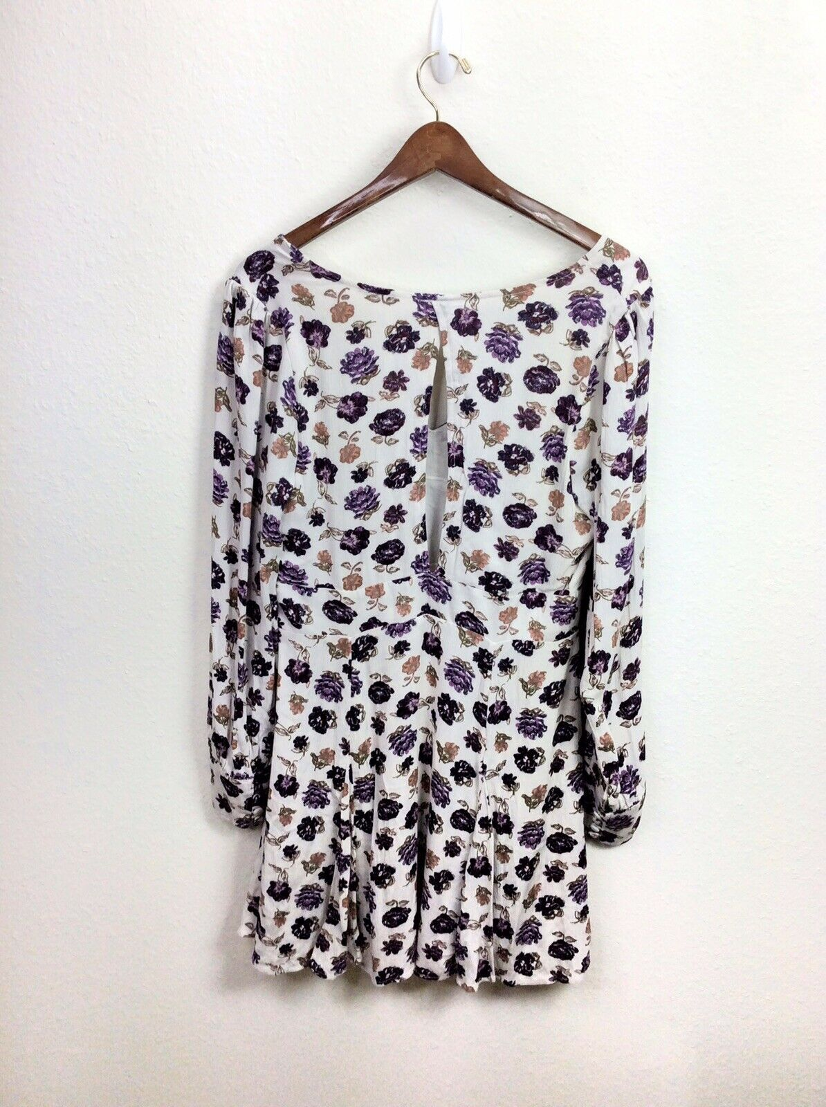 Free People About a Girl Fit And Flare Ivory Purple Floral Dress Size 12