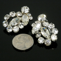 "Vintage Rhinestone Cluster Earrings Clip Ons 1.25"" Tall Unsigned - $10.00"