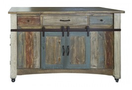 Anton Multi Color Sliding Barn Door Kitchen Island - $1,381.05