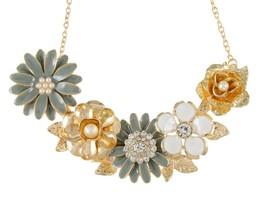 Womens Flower Rhinestones Pearl Statement Bib Golden Tone Necklace With  - $55.55