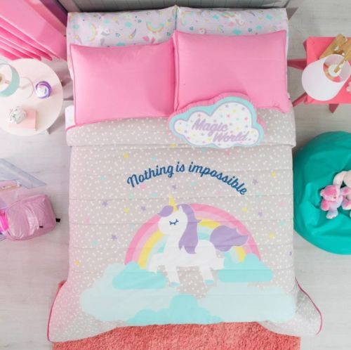 Primary image for UNICORN KIDS GIRLS REVERSIBLE COMFORTER,SHEET SET AND WINDOWS PANELS 10 PCS FULL