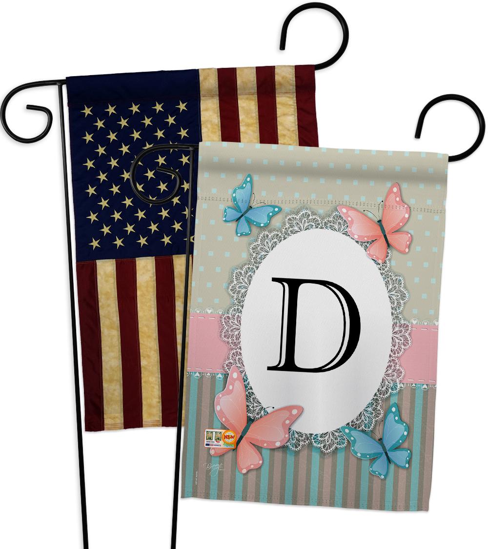 Butterflies D Initial - Impressions Decorative USA Vintage - Applique Garden Fla - $30.97