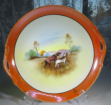 """Porcelain Ceramic Hand Painted Handle Tray Made In Japan Hunting Dogs 9""""... - $35.00"""