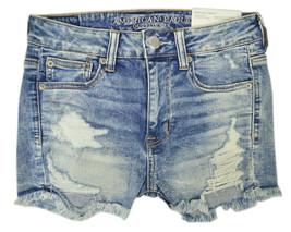 American Eagle Womens Destroy Medium Blue Stretch Jean Shortie Shorts  2  6569-6 - $47.03