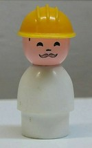 Fisher Price VTG Little People  Construction Worker White Yellow Hard Hat  - $6.00