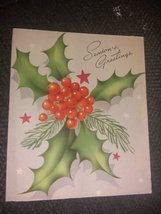 Colorful Holly Berries Mistletoe Vintage Christmas Card - $3.00