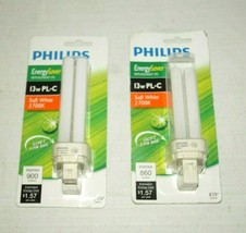2 PHILIPS Energy Saver Replacement CFL 13W PL-C Cool White 4100K Light Bulb New - $15.83