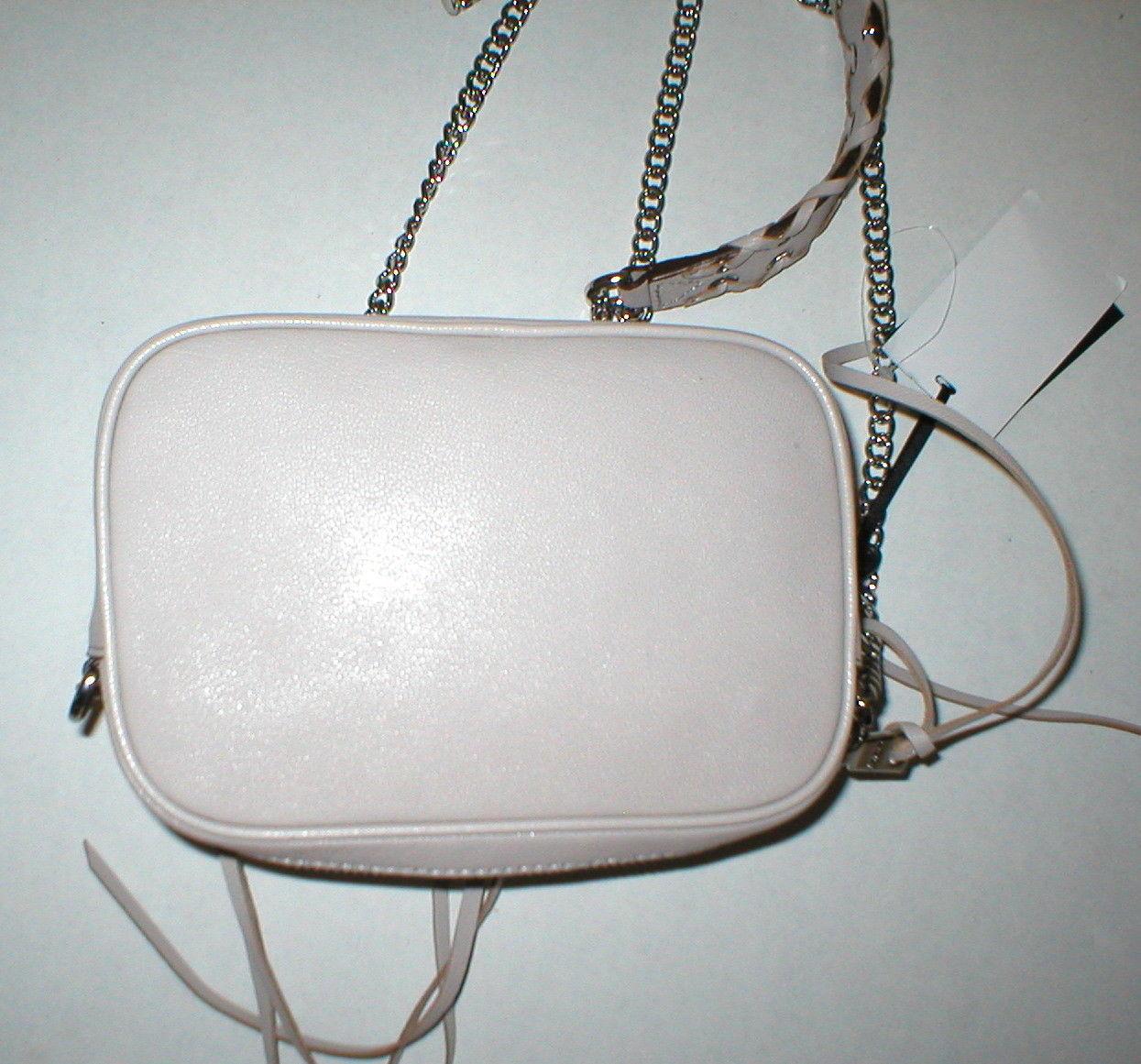 NWT New Womens DKNY Gray Stone Cross Body Bag Handbag Logo Silver Leather Chain