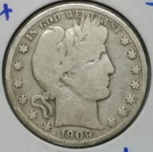 1909S Inverted 's' Liberty Barber Head Half Dollar 50¢ Silver Coin Lot E 57