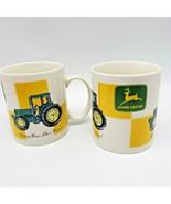John Deere Gibson Housewares Coffee Mugs Yellow Checker Lot 2 11 oz Noth... - $15.00