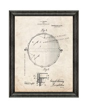 Snare Drum Patent Print Old Look with Black Wood Frame - $24.95+