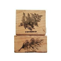 Lot Of 2 Stampin Up Tree Leaf Wooden Rubber Stamp 1997  - $10.88