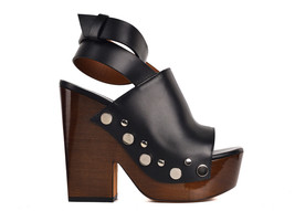 Givenchy Womens Black Leather Stud Clog Platform Sandals IT37.5/US7.5~RT... - $522.50