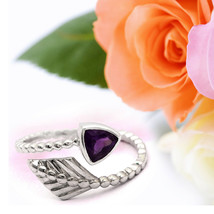 Shine Jewel 925 Sterling Solid Silver 0.75 Ct African Amethyst Minimal Ring - $18.34