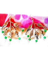 PRE-OWNED GOLD TONE METAL MULTI-LEAF DROP-DANGLE HOOK EARRINGS W/GREEN B... - $7.99