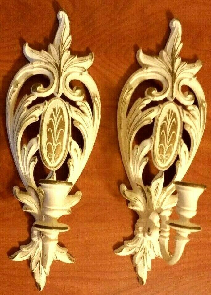 Vintage SYROCO-INC.1975 Wall Hanging Candle Holder White & Gold Set 2