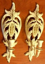 Vintage SYROCO-INC.1975 Wall Hanging Candle Holder White & Gold Set 2 - $24.75