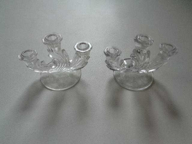 Primary image for Vintage Set Fostoria Baroque Etched Glass Triple Candelabra Candle Stick Holders