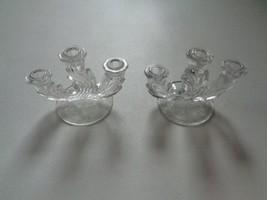 Vintage Set Fostoria Baroque Etched Glass Triple Candelabra Candle Stick... - $41.79