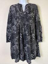 Old Navy Women Size PS Black/White Floral Tunic Dress Boho Long Sleeve - $11.88