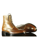 Handmade Trendy Bespoke Tan Ankle High Lace Up Leather Boots - $159.97+