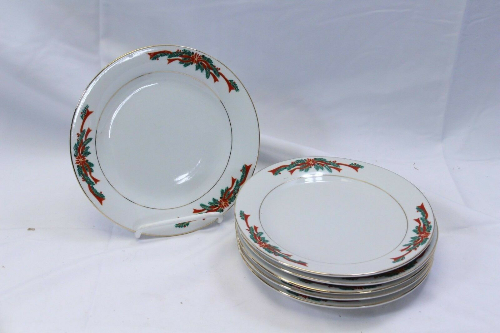 "Primary image for Poinsettias and Ribbons Xmas Salad Dessert Plates 7.5"" Set of 8"